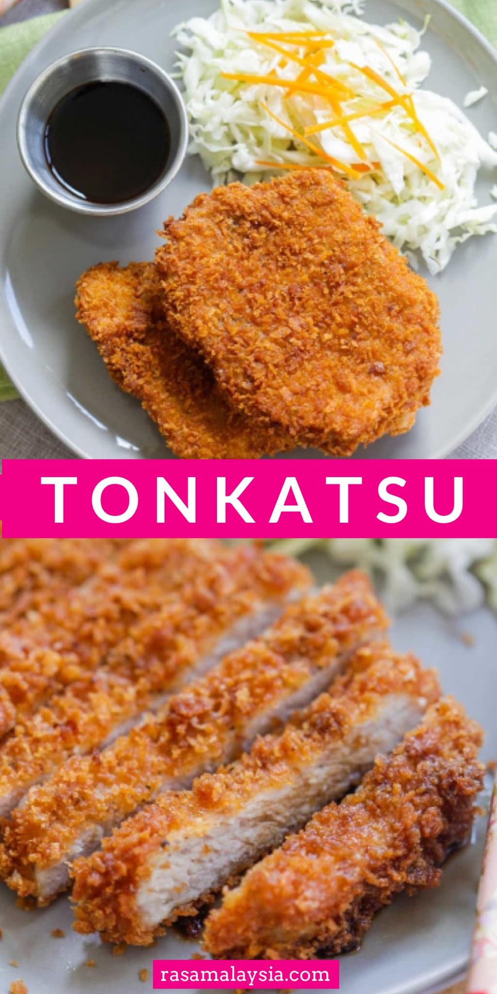 Tonkatsu is crispy and crunchy Japanese fried pork cutlet with panko bread crumbs. This homemade tonkatsu recipe is so easy and tastes like restaurants.