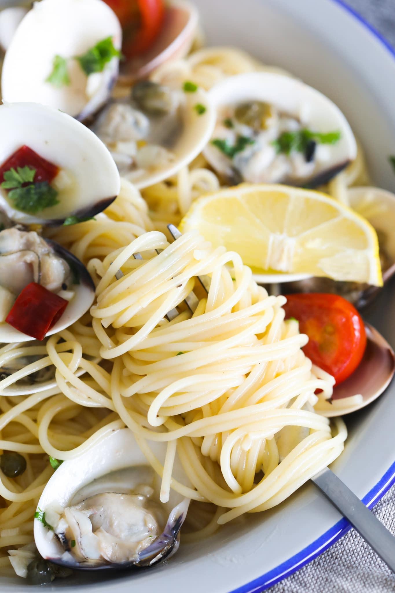 Capellini recipe with simple ingredients.