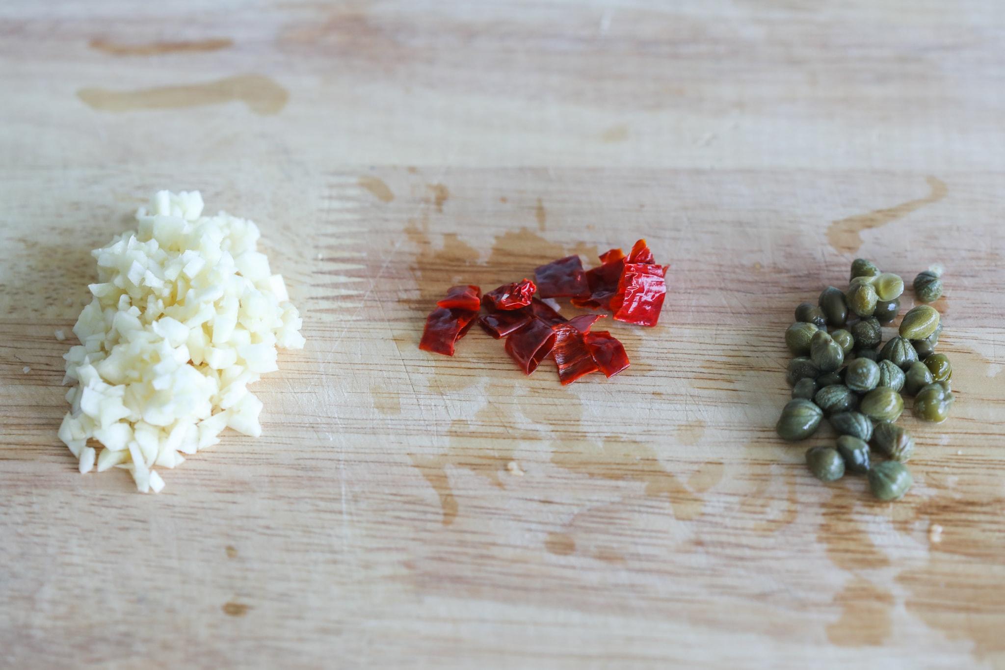 Ingredients for capellini pasta