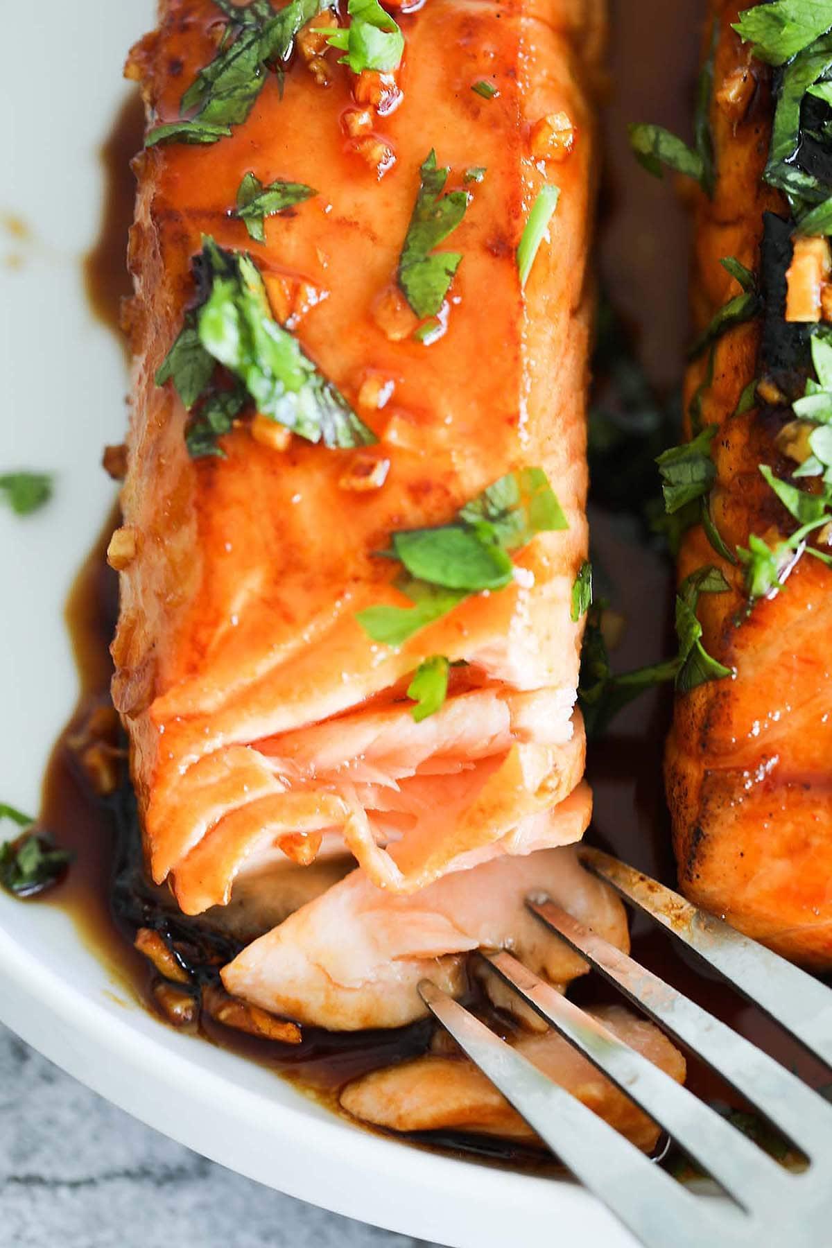 Salmon glaze coating on honey glazed salmon recipe.