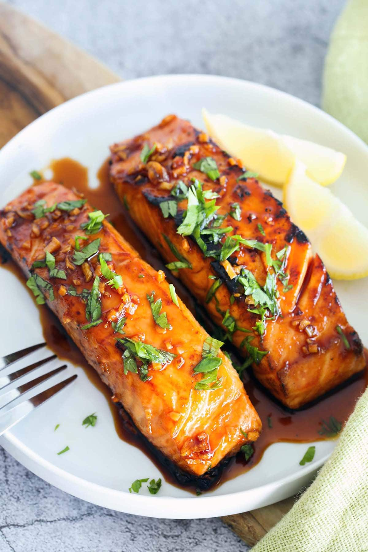 Honey glazed salmon with sriracha.