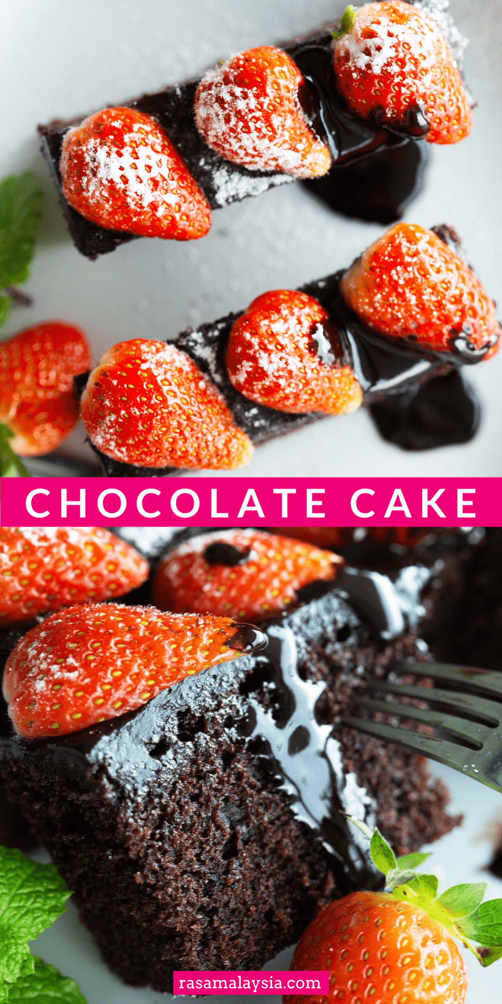 Chocolate Cake - super rich and easy chocolate cake recipe that makes extremely moist cake topped with a decadent ganache frosting. The world's best cake!