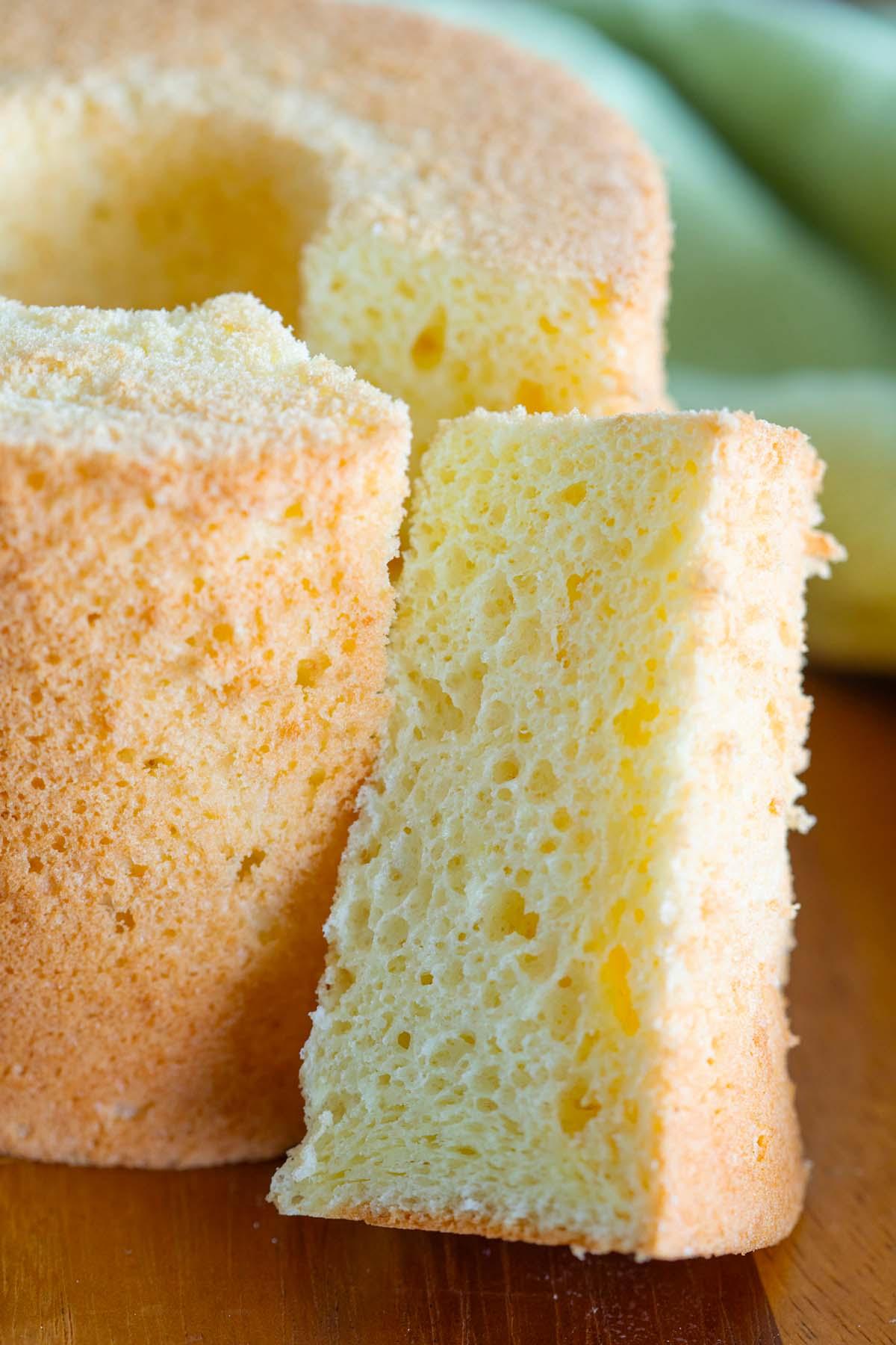 Orange chiffon cake, ready to serve.