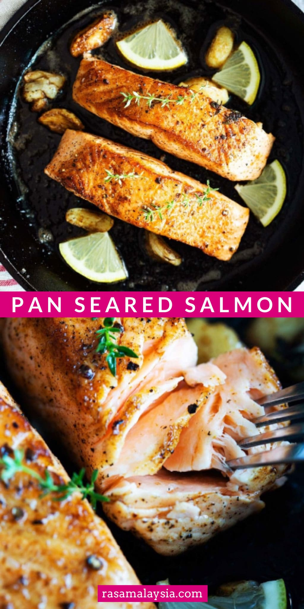 This is an easy pan seared salmon with the simplest ingredients. This is one of the best salmon recipes, it tastes just like Gordon Ramsay. | rasamalaysia.com