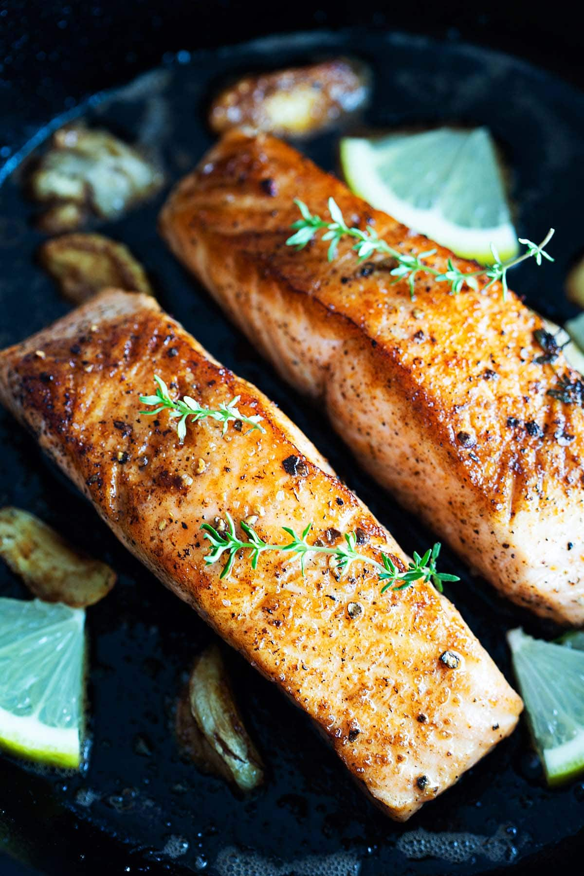 Pan seared salmon recipe with garlic, butter and thyme.