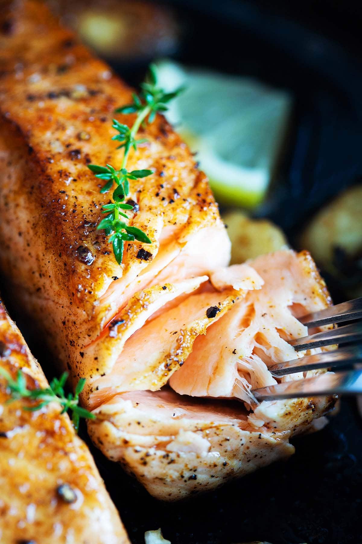 Best, crispy salmon fillet in a pan.