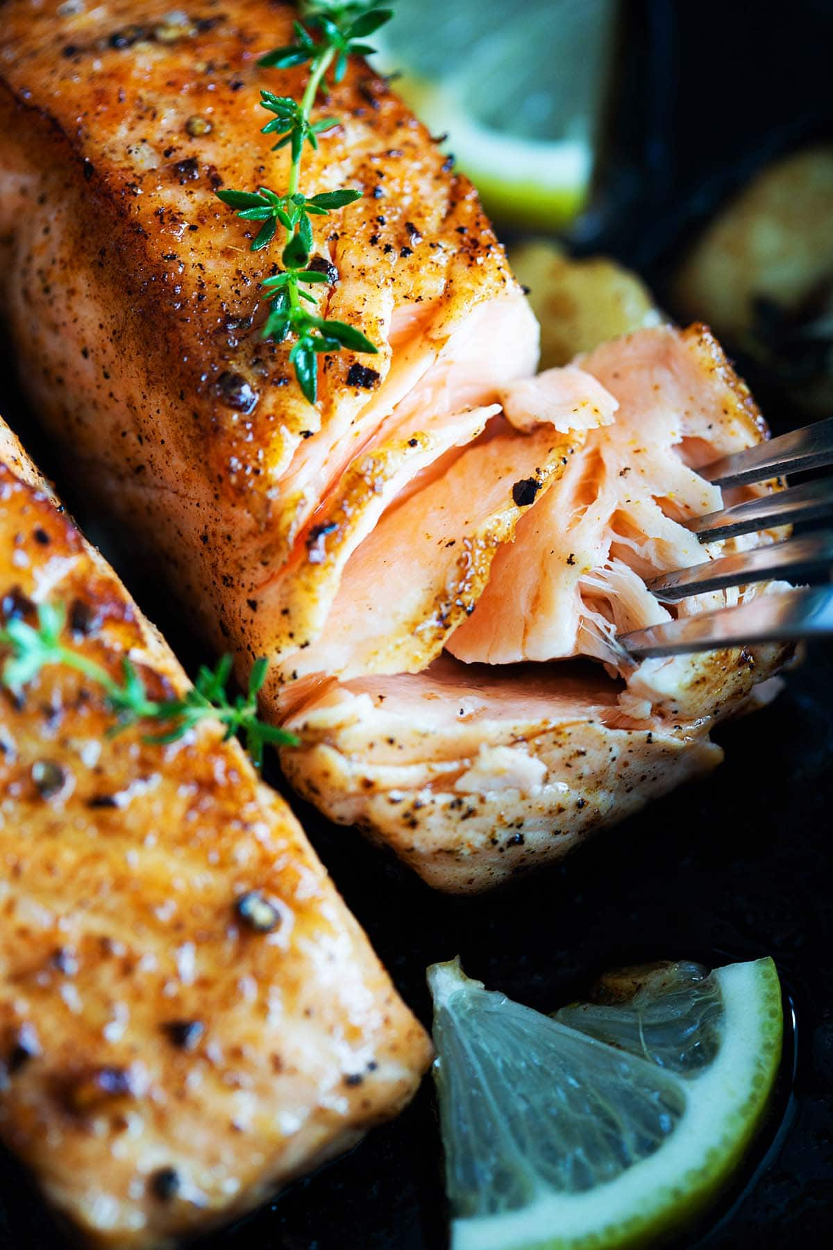 Pan seared salmon with skin, ready to serve.