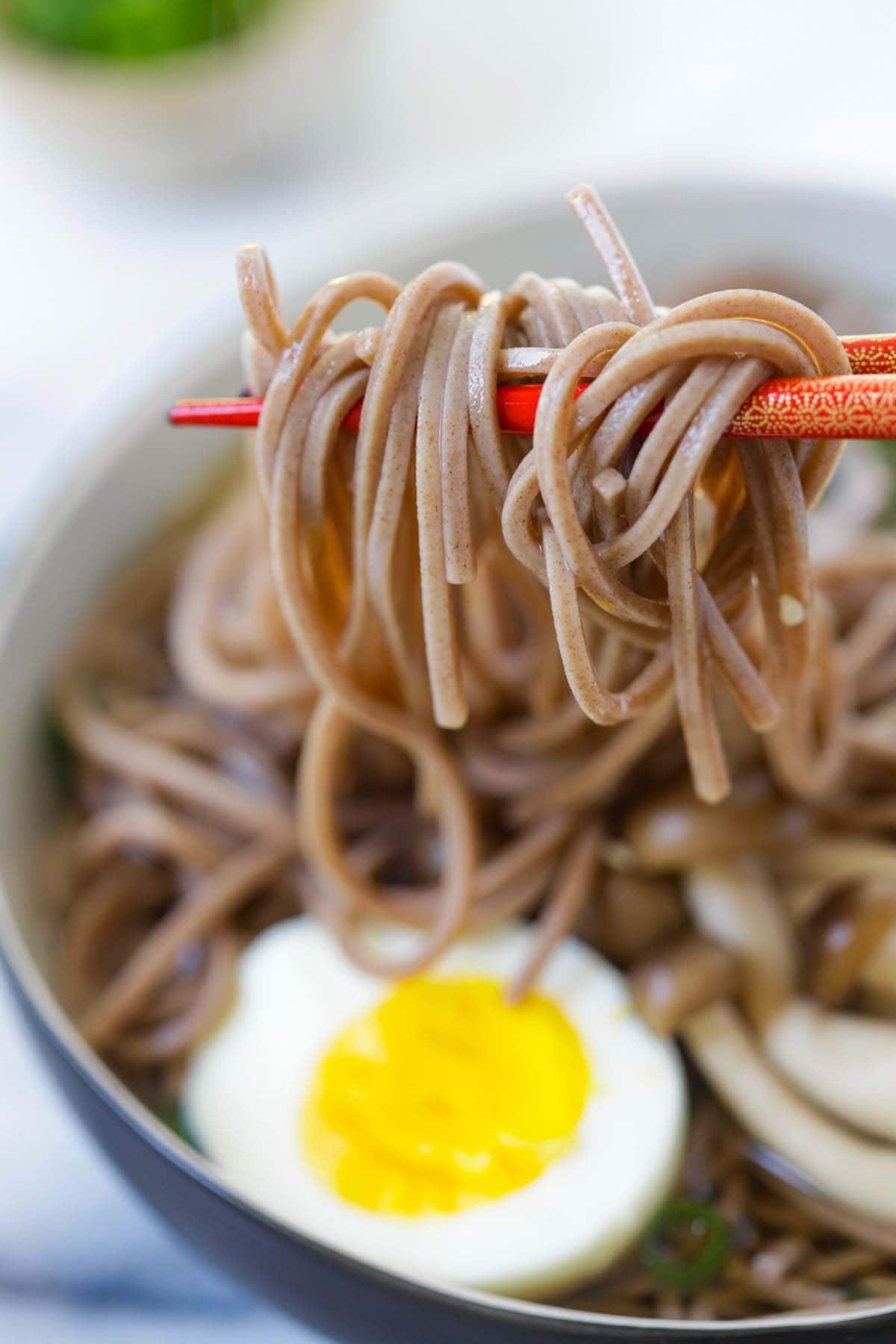 Japanese soba noodle soup ready to serve.