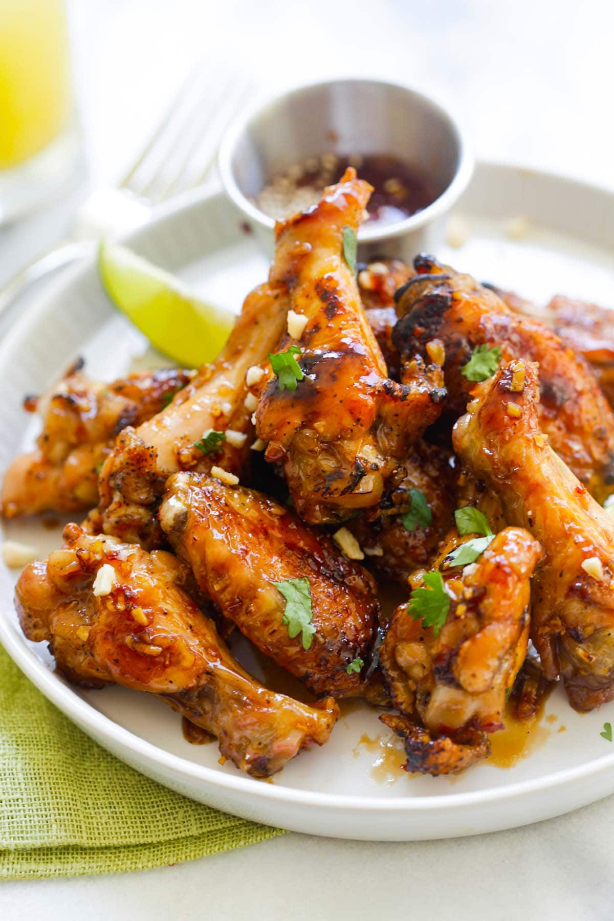 Easy homemade chicken wings dipped into chicken wings dipping sauce.