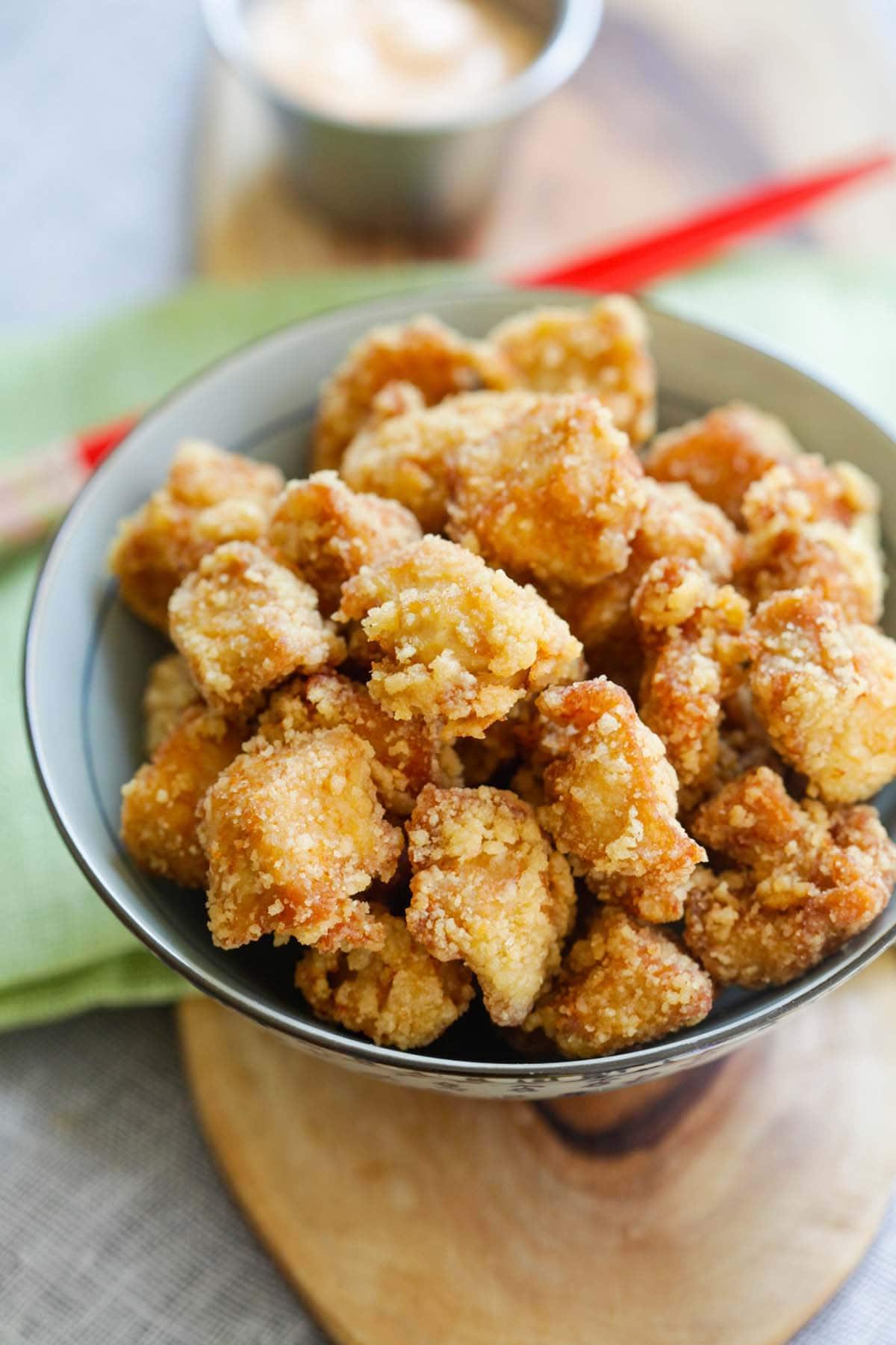 Bowl of chicken Karaage.