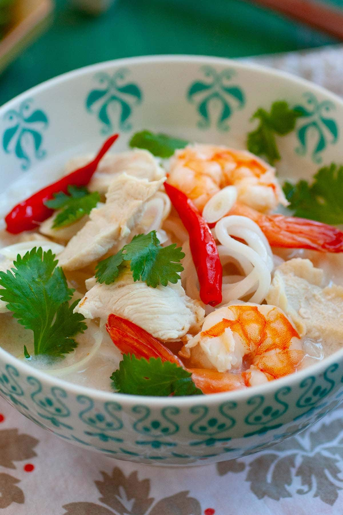 Coconut and lime noodle soup. This Thai-inspired noodle dish is infused with coconut, lime, and lemongrass. A hearty and tasty noodle dish.