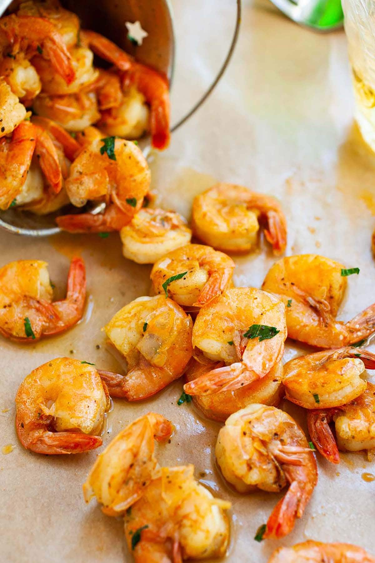 Easy summer shrimp peel and eat appetizers marinade with beer, butter and spices.