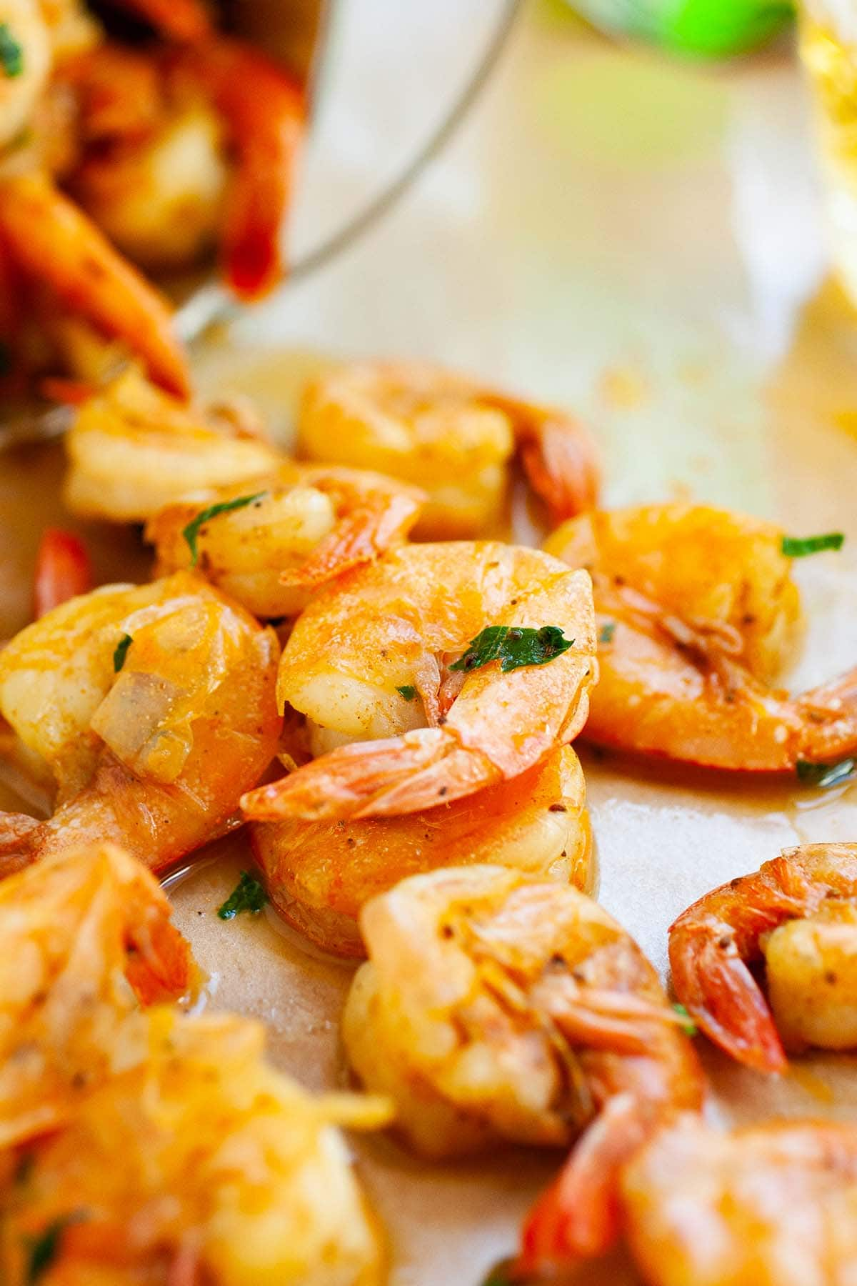 Easy and tasty peel and eat shrimps with homemade cocktail sauce.