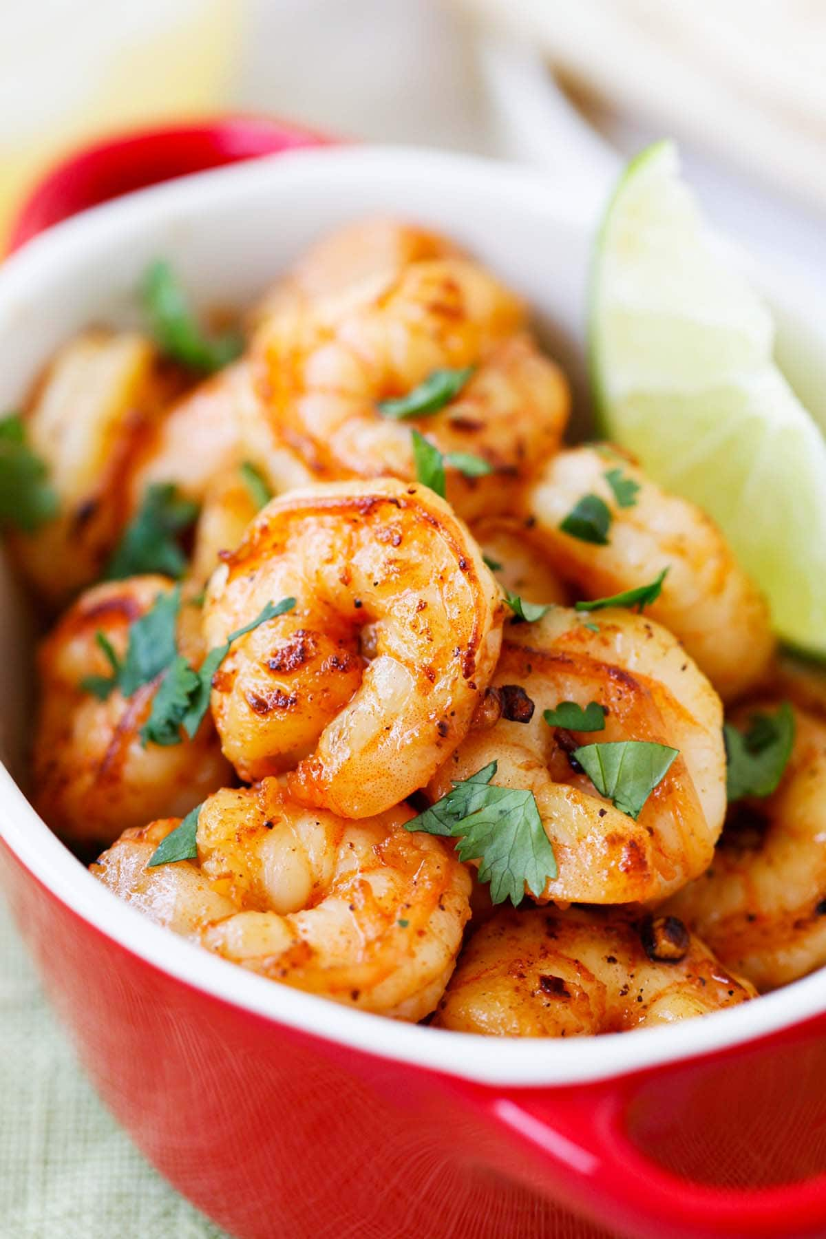 Tequila lime shrimp in a serving dish.