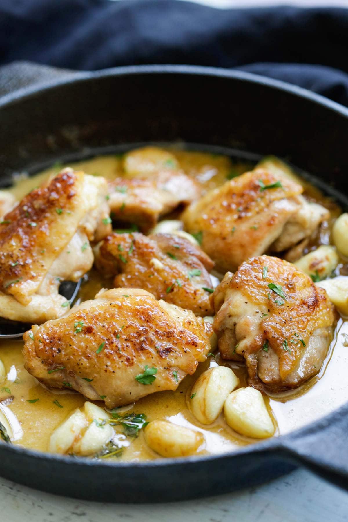 Creamy Garlic Chicken in a skillet, ready to serve.