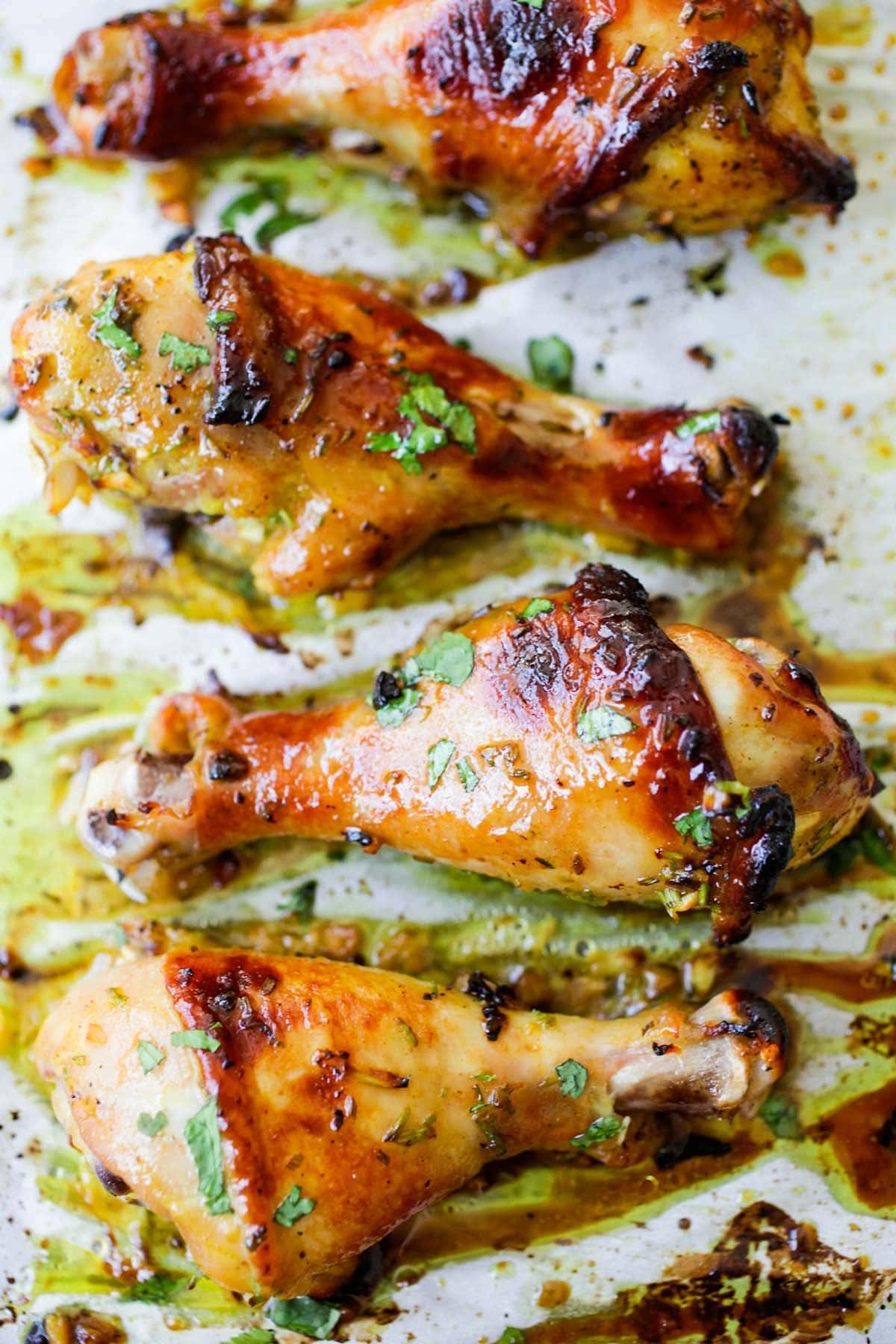 Glazed roasted Thai chicken drumsticks in easy Asian sauce.
