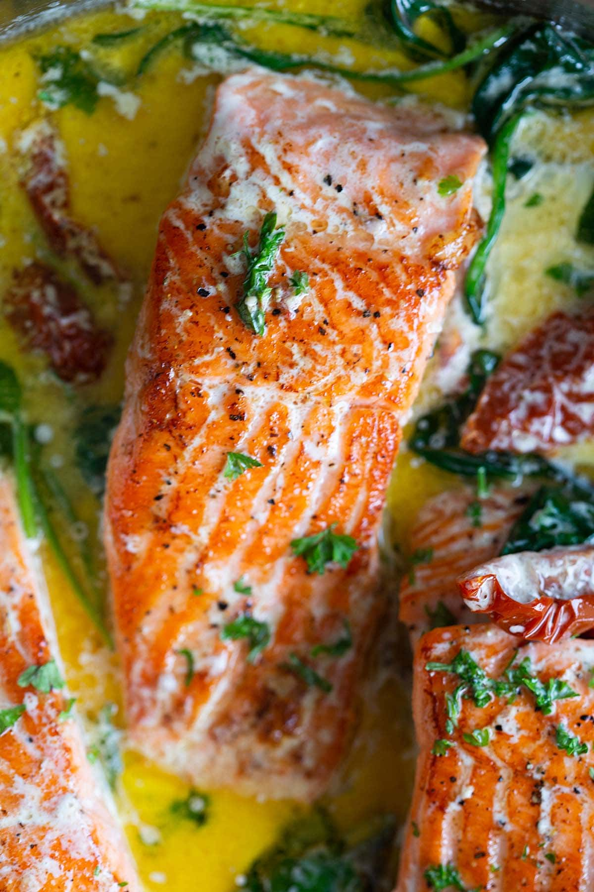 Tuscan salmon with spinach.