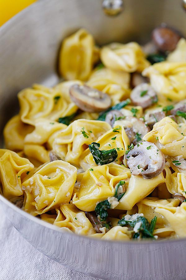 Creamy Mushroom Tortellini - the creamiest and most delicious tortellini recipe with rich buttery mushroom sauce. Quick, easy and budget-friendly!!   rasamalaysia.com
