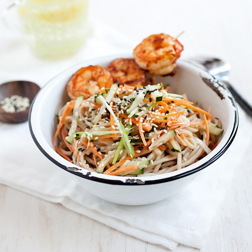 Cold Sesame Noodles with Shrimp