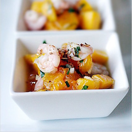 Fruit Salad with Shrimp and Coconut