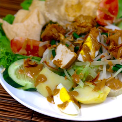 "Gado-gado is one of the well-known dishes from Indonesia. Gado-gado literally means ""mix mix"" since gado-gado is the plural word of gado, so gado-gado means mixes. 