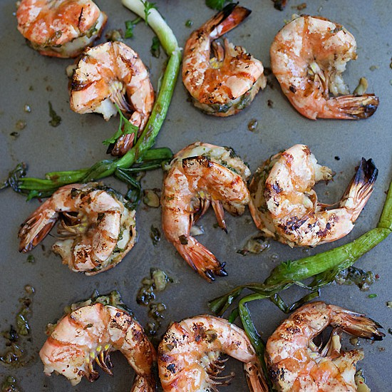 Kimchi-Miso butter grilled shrimp. Make a bunch of these yummylicious shrimp for the upcoming Labor Day weekend | rasamalaysia.com