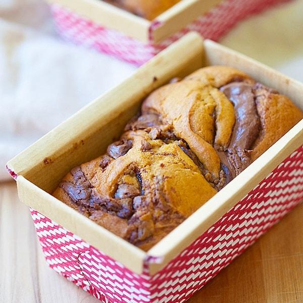 Nutella Swirled Pumpkin Bread