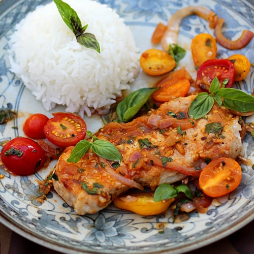 Saute Pork with Tomatoes