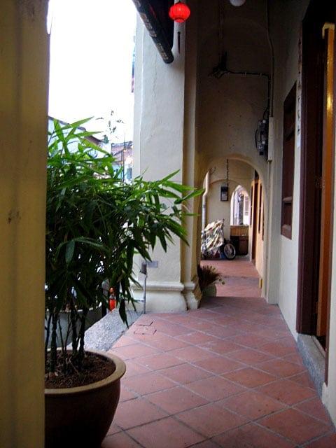 Corridor of pre-war homes Georgetown, Penang