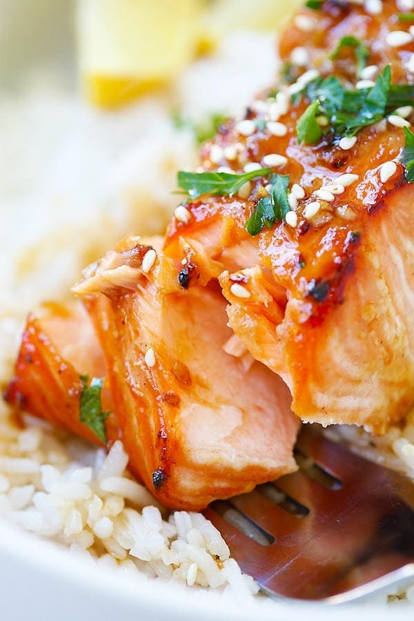 Ginger Garlic Baked Salmon marinade cut open with a fork.