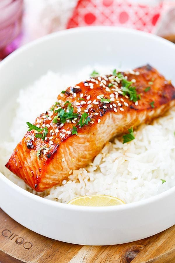 Quick and easy recipe for Ginger Garlic Baked Salmon.