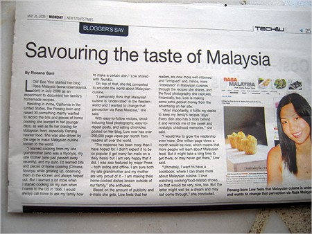 Savouring the Taste of Malaysia, The New Straits Times, May 26, 2008