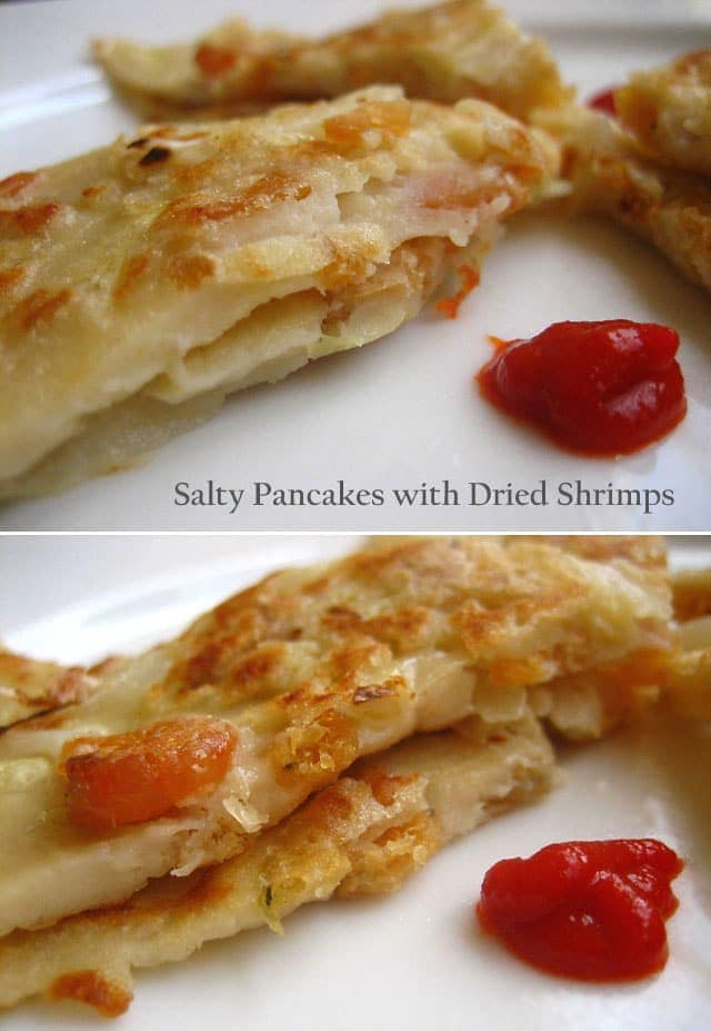 Salty Pancakes with Dried Shrimps and Shredded Cabbage