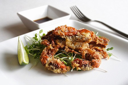 Delicious Japanese recipe featuring soft shell crab that is deep-fried in Panko and served with ginger ponzu sauce