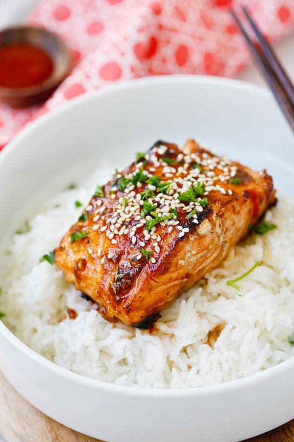 Honey Sriracha Salmon SkinnyTaste cookbook inspired.