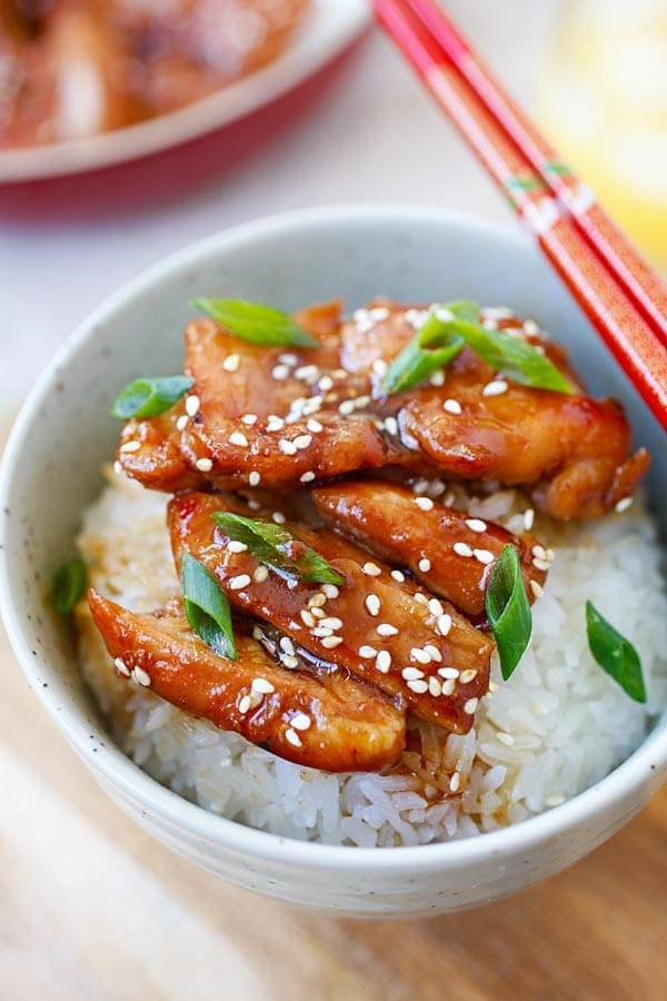 Teriyaki chicken - the most popular Japanese chicken dish. Learn how to make teriyaki chicken with this easy 30-min recipe with only four ingredients | rasamalaysia.com